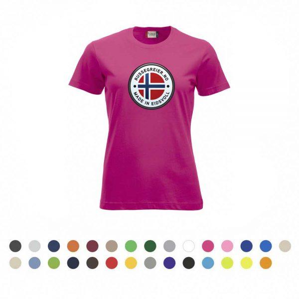 T-skjorte for damer med stor russelogo på bryst