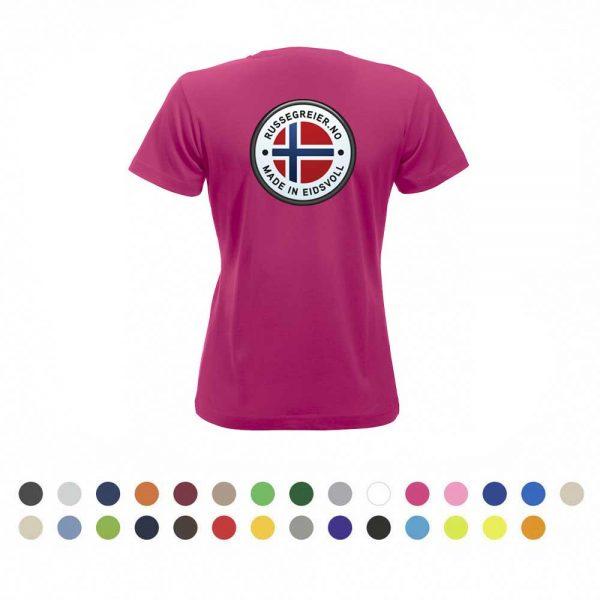 T-skjorte for damer med stor russelogo på ryggen