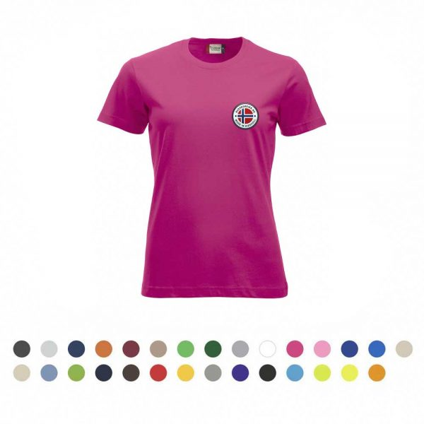 T-skjorte for damer med liten russelogo på venstre bryst