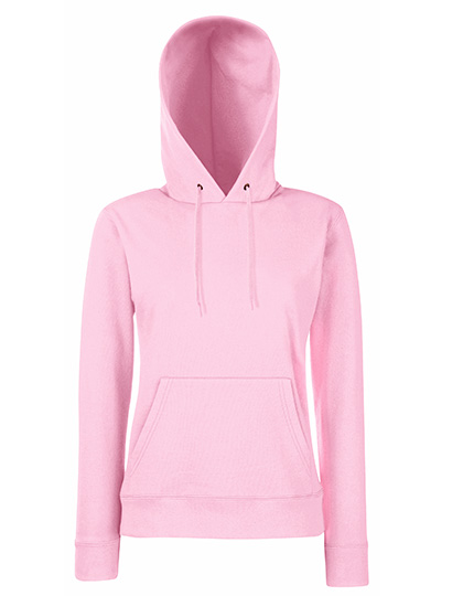 Classic Hooded Sweat Ladies fra Fruit of the Loom i fargen rosa