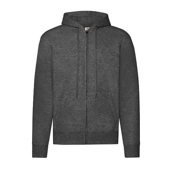 Classic Hooded Sweat Jacket fra Fruit of the Loom i fargen Grå