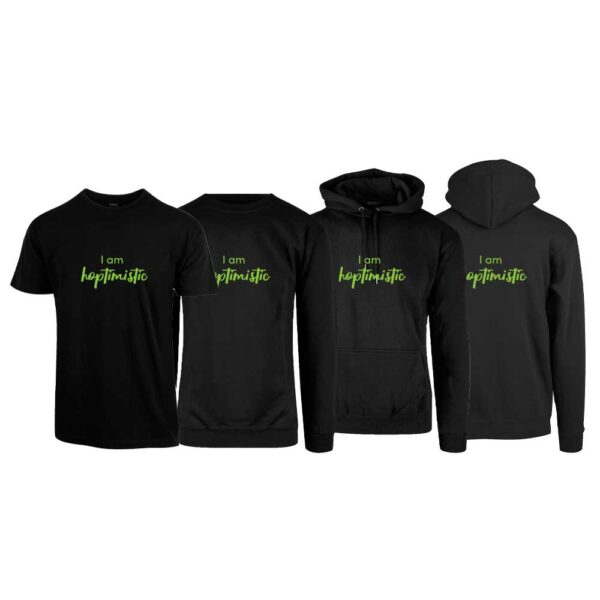 """Svart t-skjorte, sweatshirt, hettegenser og hettejakke med trykket """"Hoptimistic"""" i grønt"""