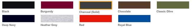Fargekart for premium Hooded Sweat Jacket fra Fruit of the Loom