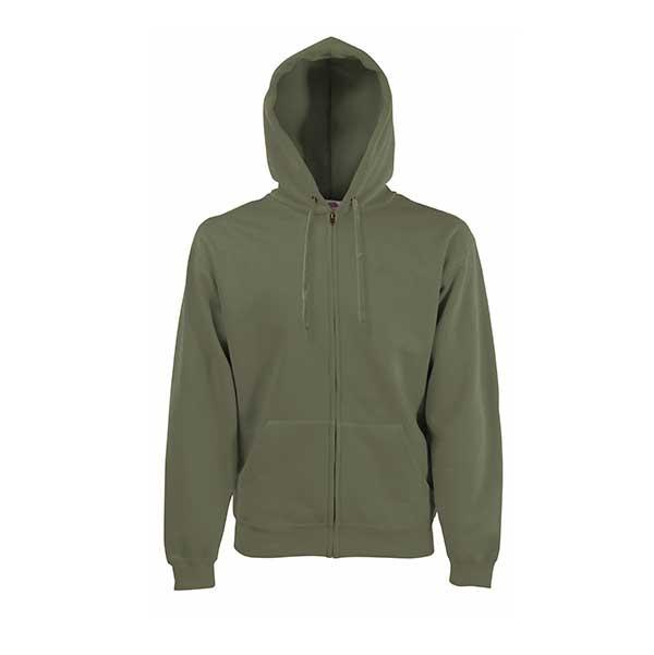 Premium Hooded Sweat Jacket fra Fruit of the Loom, i fargen oliven