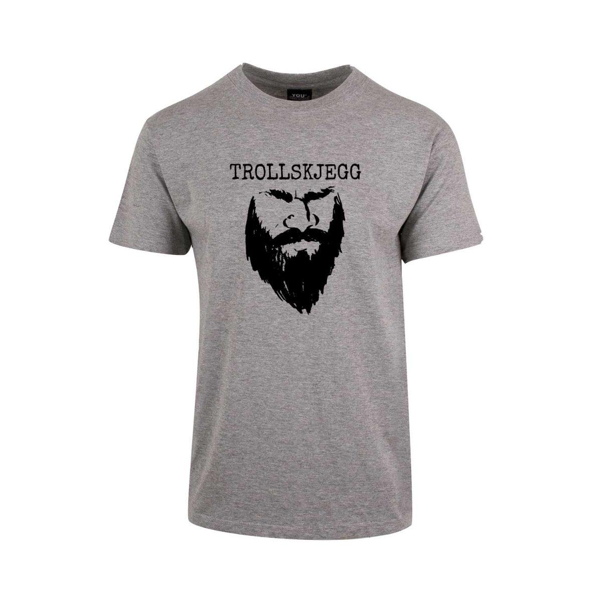 Grå t-skjorte med svart Trollskjegg-logo