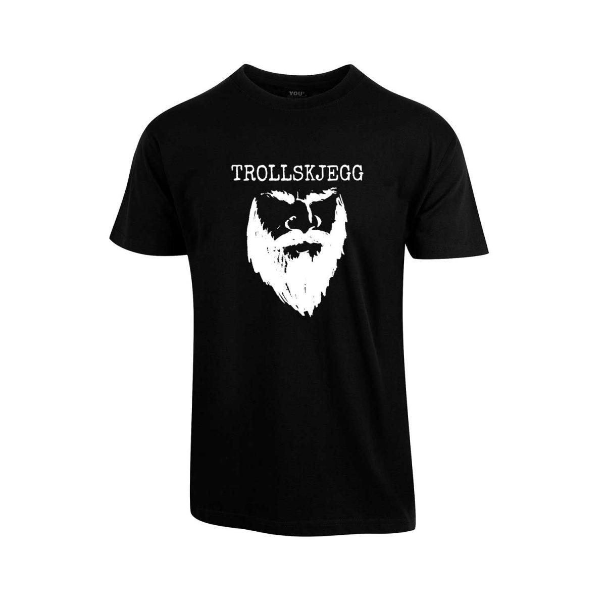 Svart t-skjorte med hvit Trollskjegg-logo
