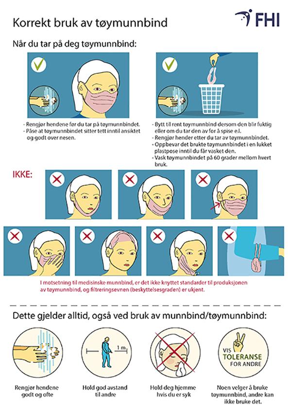 Informasjon fra FHI om bruk av munnbind