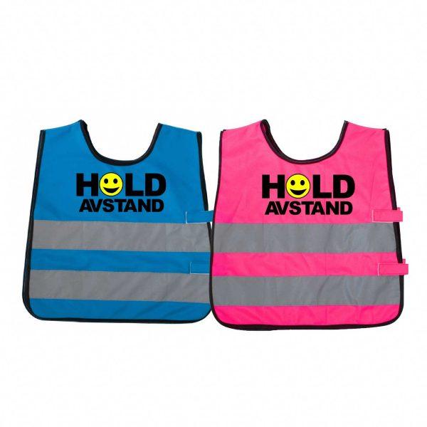 """Markeringsvest for barn i blå og rosa med trykket """"Hold avstand"""" og gult smilefjes"""