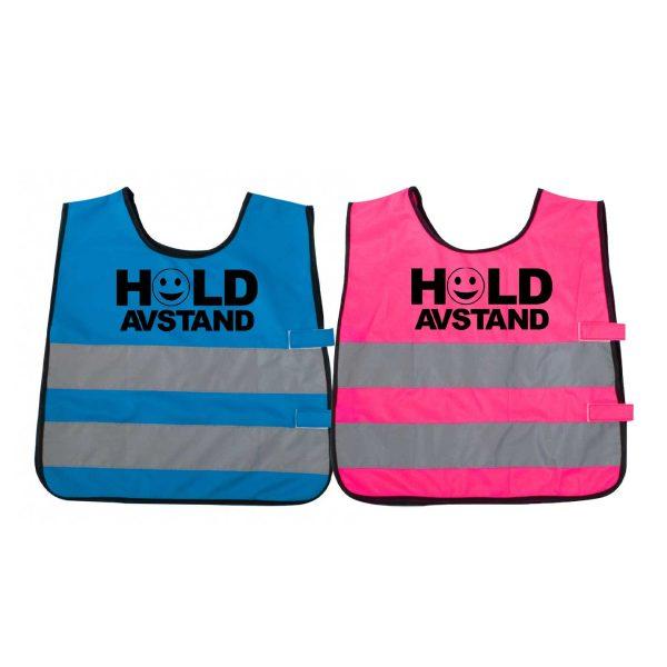 """Markeringsvest for barn i blå og rosa med trykket """"Hold avstand"""" og smilefjes"""