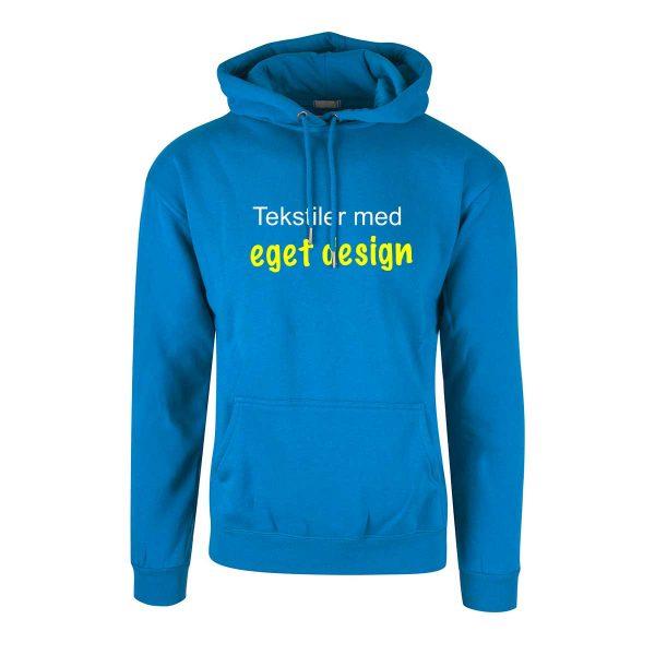 Blå hettegenser med eget design