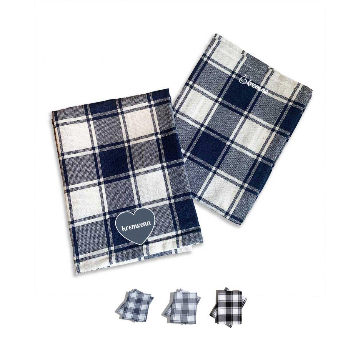 """To kjøkkenhåndkle med trykket """"Kremvenn"""" og Krem.no-logo, tilgjengelig i 3 forskjellige farger"""