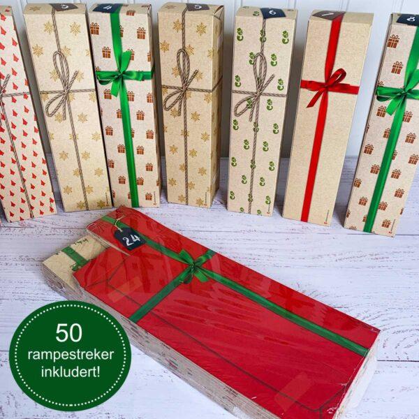 24 esker med gavepakke-design, som er flatpakket