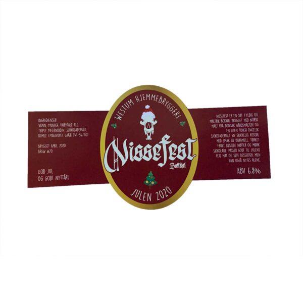 """Konturskåret etikett i rødt og gull med påskriften """"Nissefest"""""""