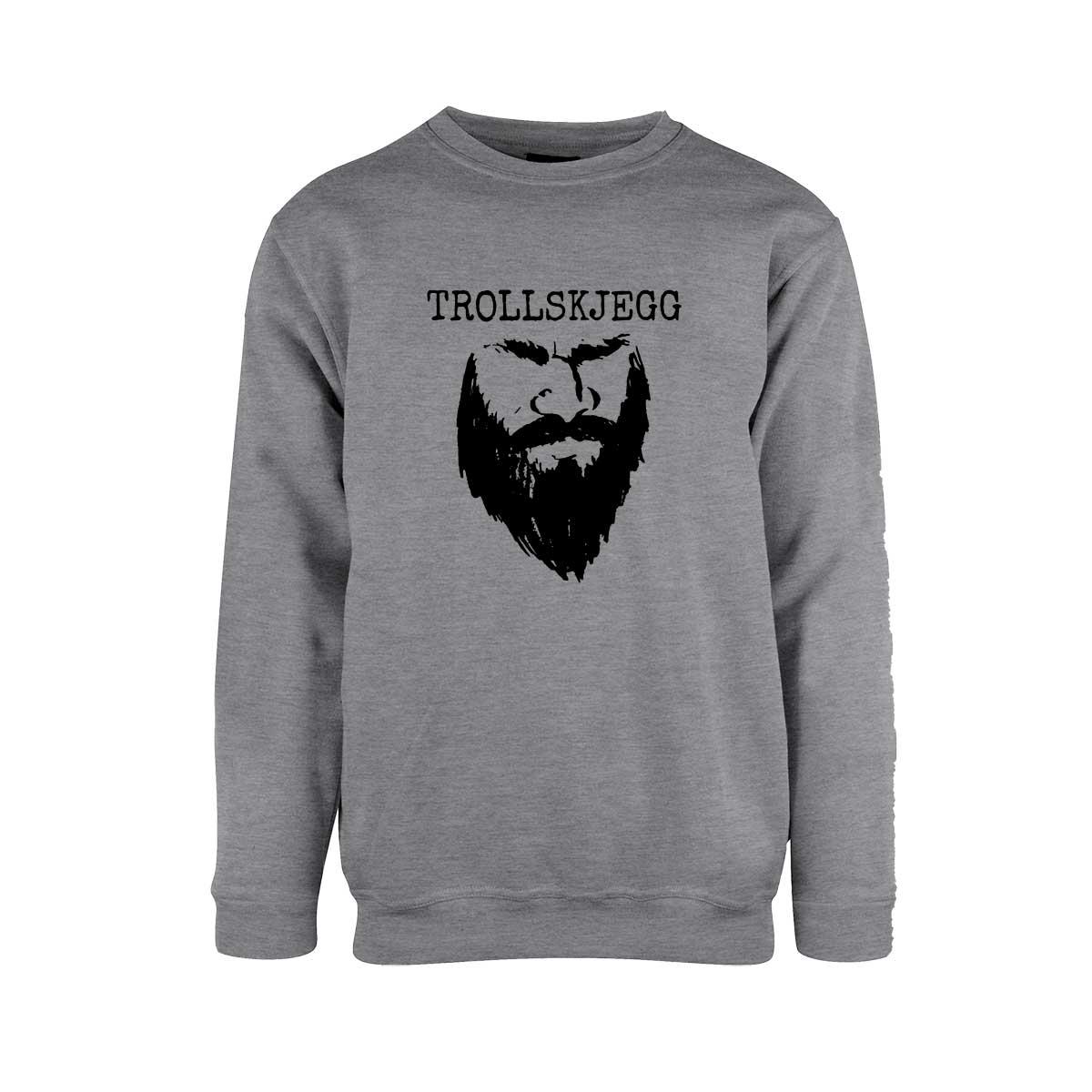 Grå genser med hvit Trollskjegg-logo