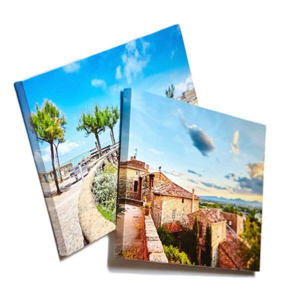 To lerret med bildetrykk fra ferie i Italia