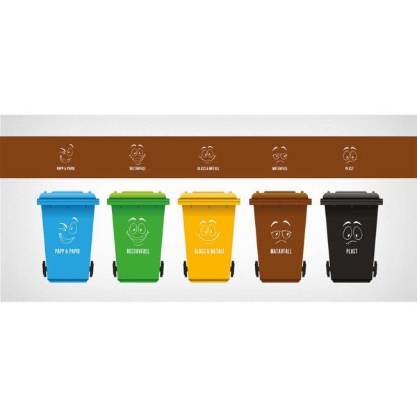 Emoji-dekor montert på søppelspann