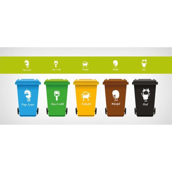 Monster-dekor montert på søppelspann