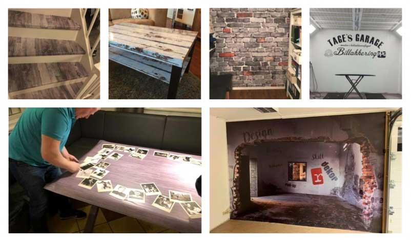 Dekor på trapp, stuebord, soveromsvegg, garasjevegg, spisebord og kjellervegg