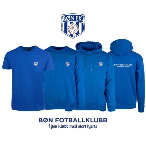 Blå t-skjorte, genser, hettegenser og hettejakke med Bøn FK-logo i front og på ryggen