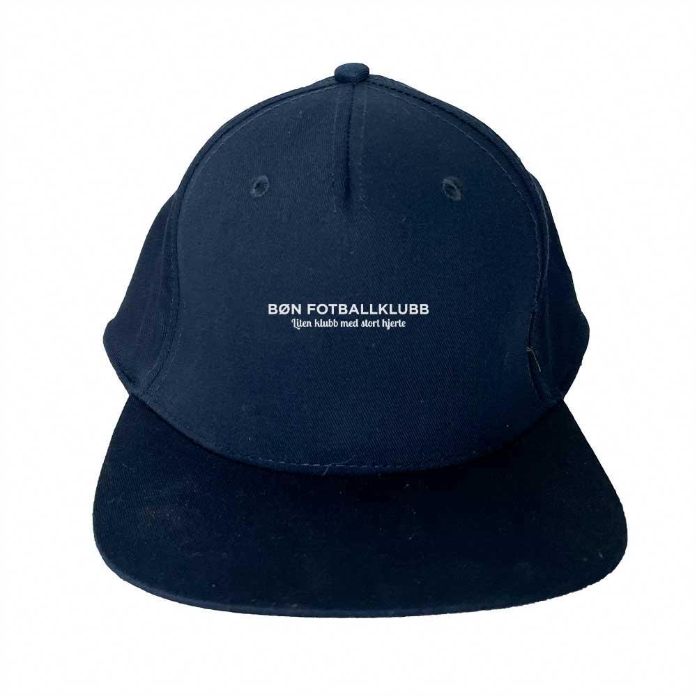 Marinefarget cap med flat brem og hvit Bøn FK-logo i front