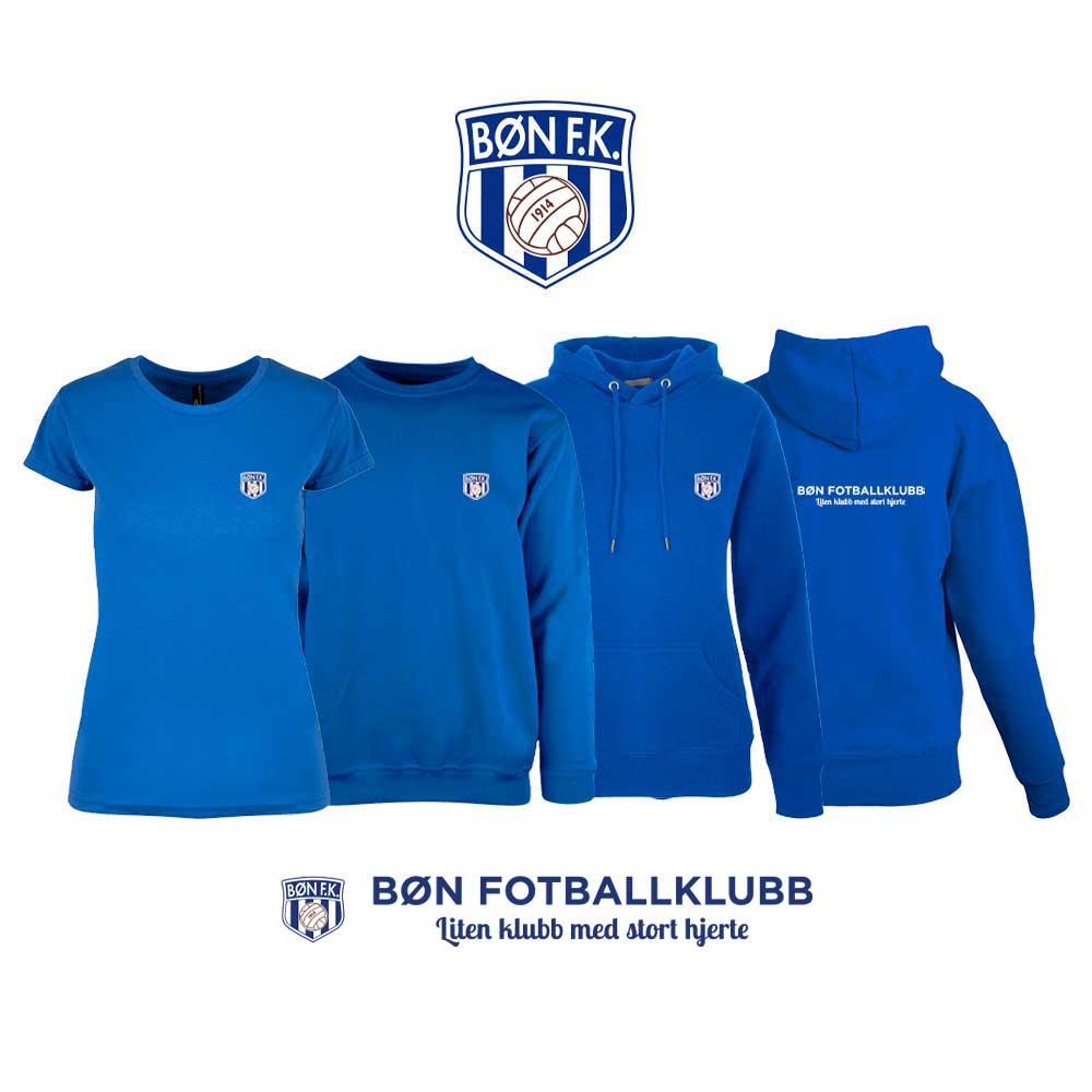 Blå t-skjorte, genser, hettegenser og hettejakke for damer, med Bøn FK-logo i front og på ryggen