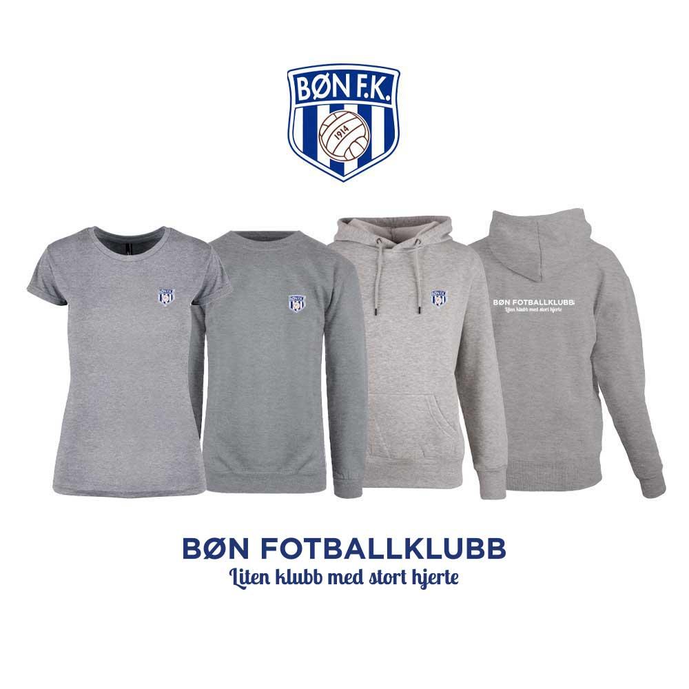 Grå t-skjorte, genser, hettegenser og hettejakke for damer, med Bøn FK-logo i front og på ryggen