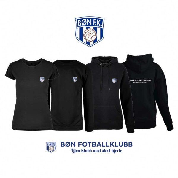 Sort t-skjorte, genser, hettegenser og hettejakke for damer, med Bøn FK-logo i front og på ryggen