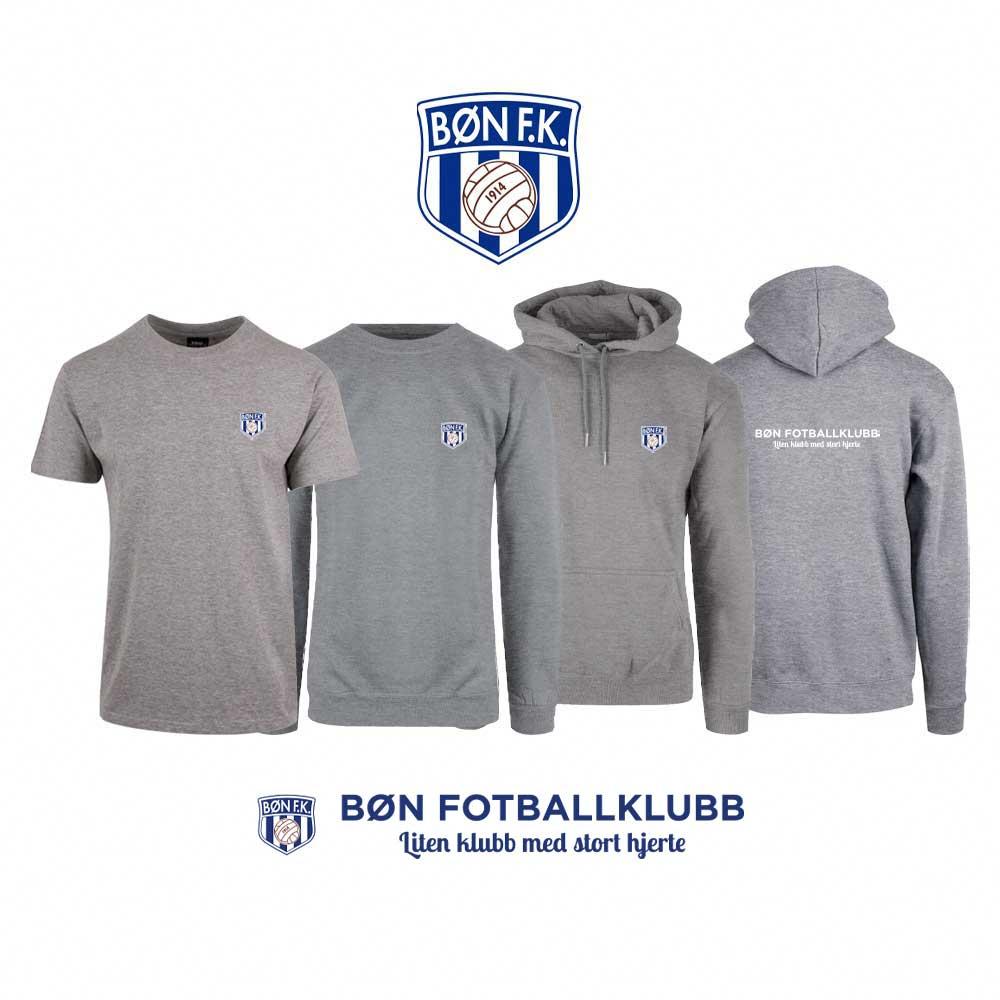 Grå t-skjorte, genser, hettegenser og hettejakke med Bøn FK-logo i front og på ryggen