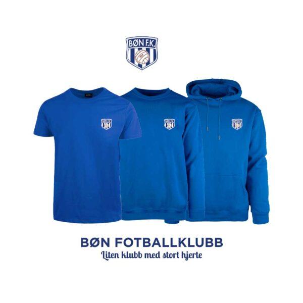 Blå t-skjorte, genser, hettegenser og hettejakke for barn, med Bøn FK-logo i front og på ryggen
