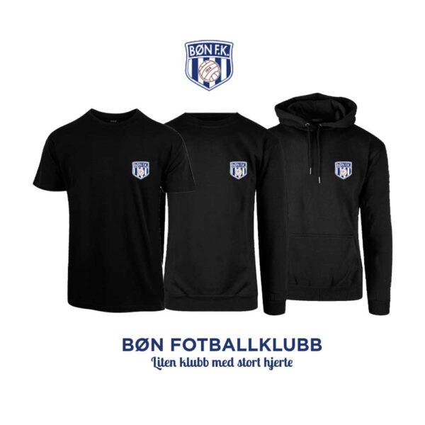 Sort t-skjorte, genser, hettegenser og hettejakke for barn, med Bøn FK-logo i front og på ryggen