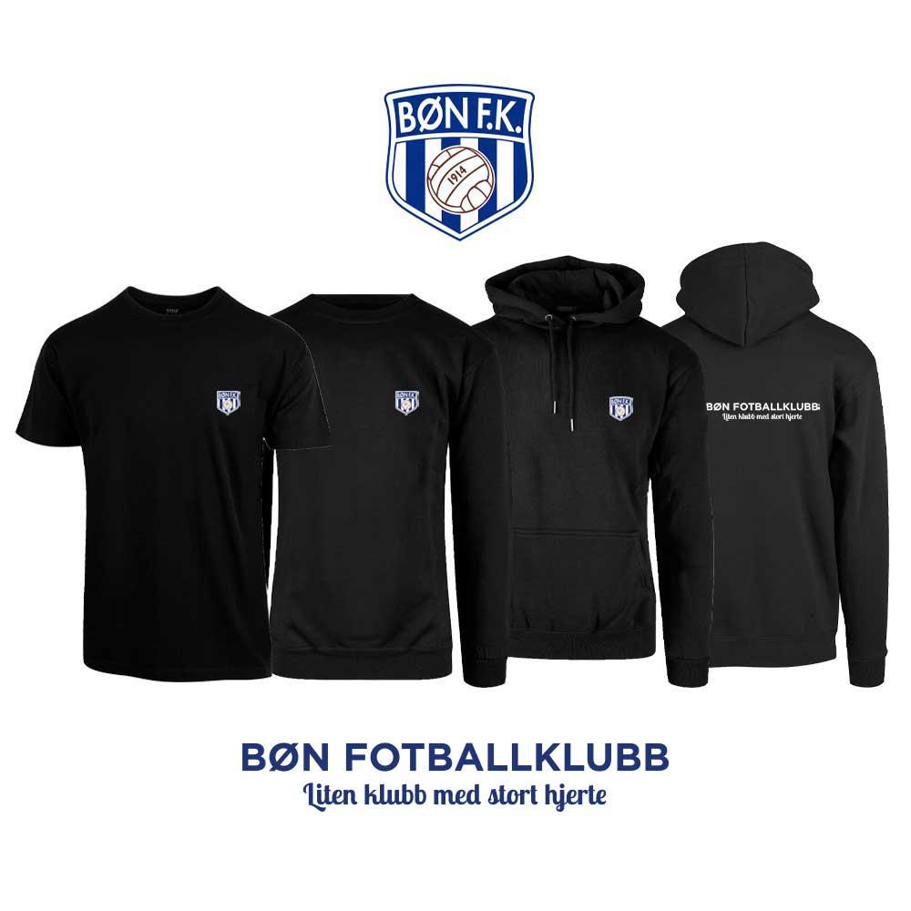 Sort t-skjorte, genser, hettegenser og hettejakke med Bøn FK-logo i front og på ryggen