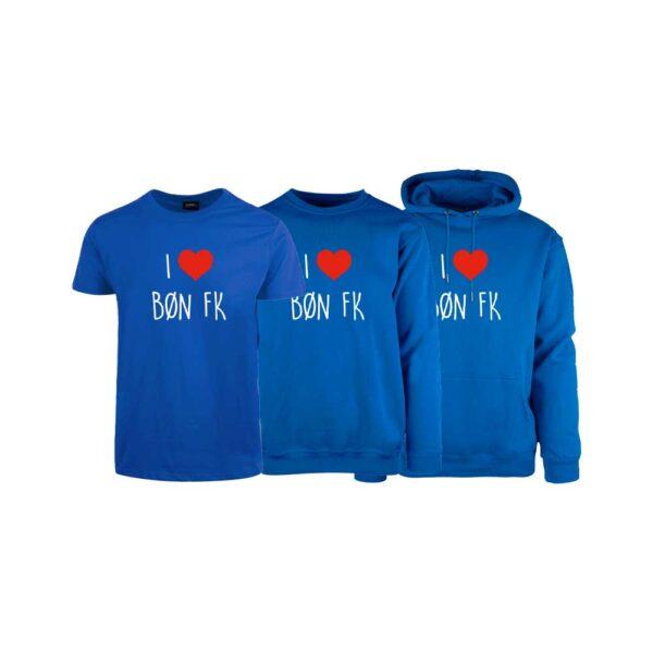 Blå t-skjorte, genser og hettegenser for barn, med I love Bøn FK