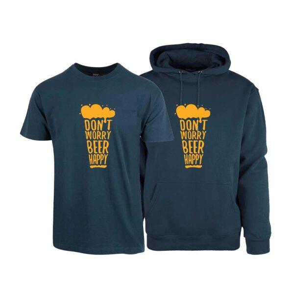 """Marineblå t-skjorte og hettegenser fra YouBrands med trykket """"Don´t worry - beer happy"""""""