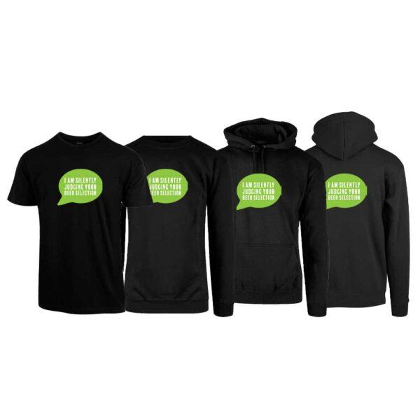 "Svart t-skjorte, sweatshirt, hettegenser og hettejakke fra YouBrands med trykket ""I am silently judging your beer sellection"" i grønn snakkeboble"""