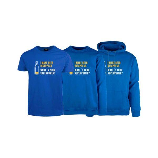 "Kornblå t-skjorte , sweatshirt og hettegenser fra YouBrands med trykket ""I make beer disappear. What´s your superpower?"""