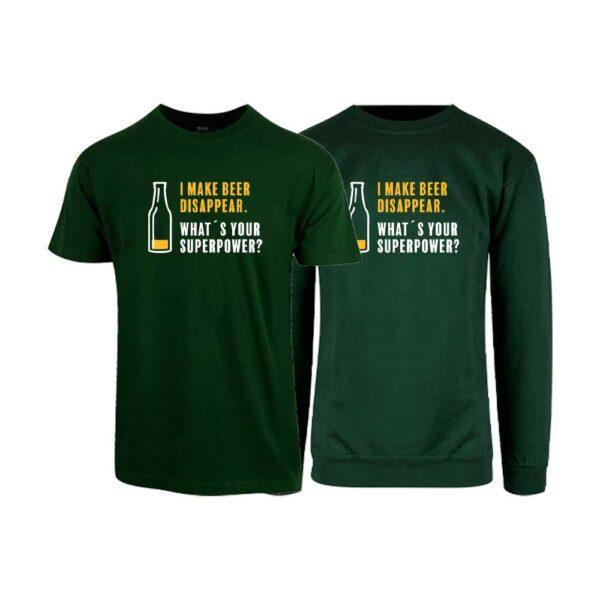 """Falskegrønn t-skjorte og sweatshirt fra YouBrands med trykket """"I make beer disappear. What´s your superpower?"""""""