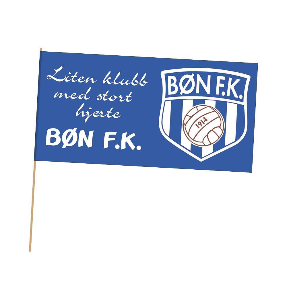 Blått balkonglfagg med Bøn FK - liten klubb med stort hjerte
