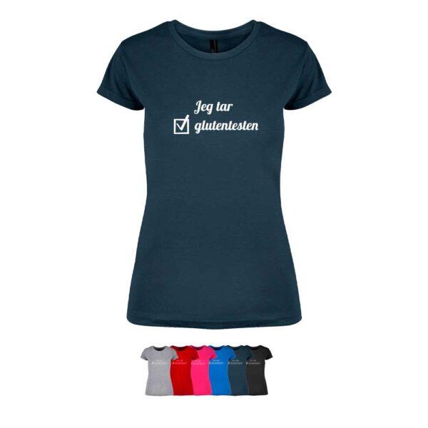 """Feminin t-skjorte i 6 forskjellige farger, med """"Jeg tar glutentesten"""" i hjerte trykket på brystet"""