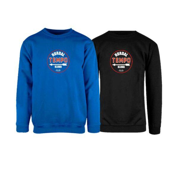 Sort og kornblå genser uten hette med Hurdal Tempoklubbs logo i front
