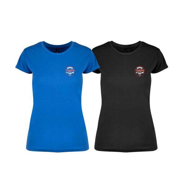 Sort og kornblå feminin t-skjorte med Hurdal Tempoklubbs logo i front