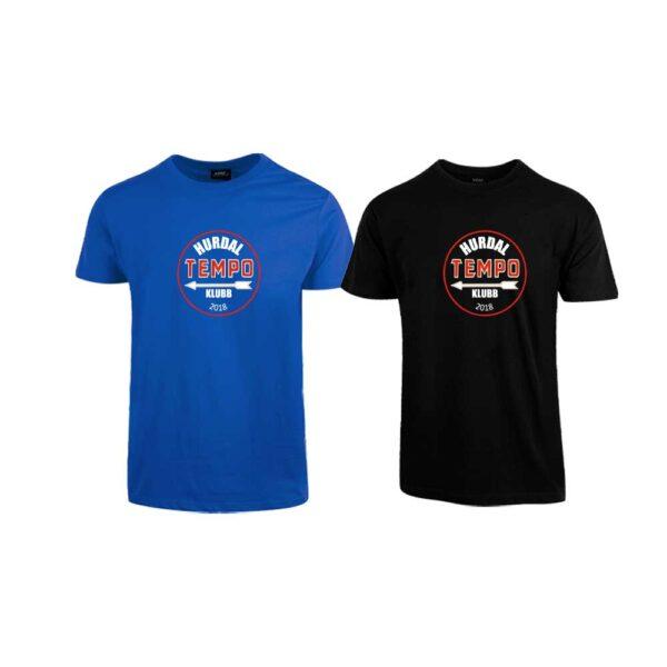 Sort og kornblå t-skjorte med Hurdal Tempoklubbs logo i front