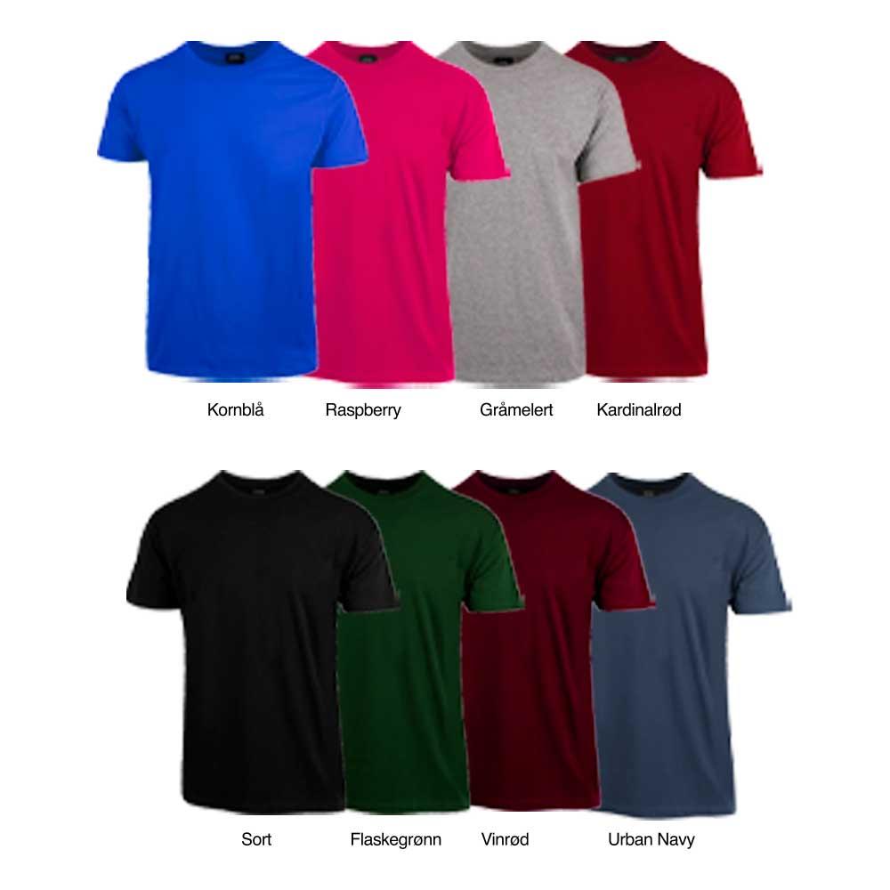 Fargeutvalg av t-skjorter fra Krem.no