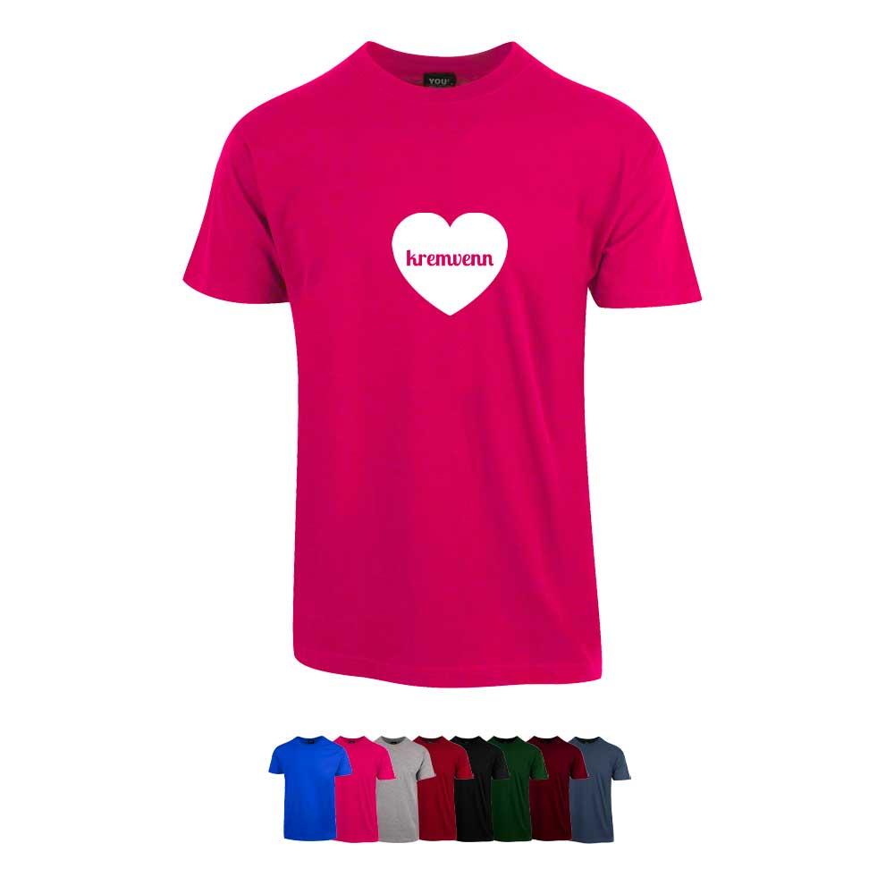 """Unisex t-skjorte i 8 forskjellige farger, med """"Kremvenn"""" trykket på brystet"""