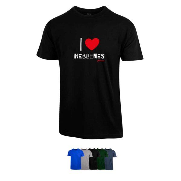 """T-skjorte i sort, gråmelert, flaskegrønn eller marineblå, med trykket """"I love Nebbenes"""" i front"""