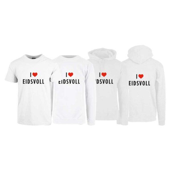"""Hvit t-skjorte , sweatshirt,hettegenser og hettejakke fra YouBrands med trykket """"I love Eidsvoll"""""""